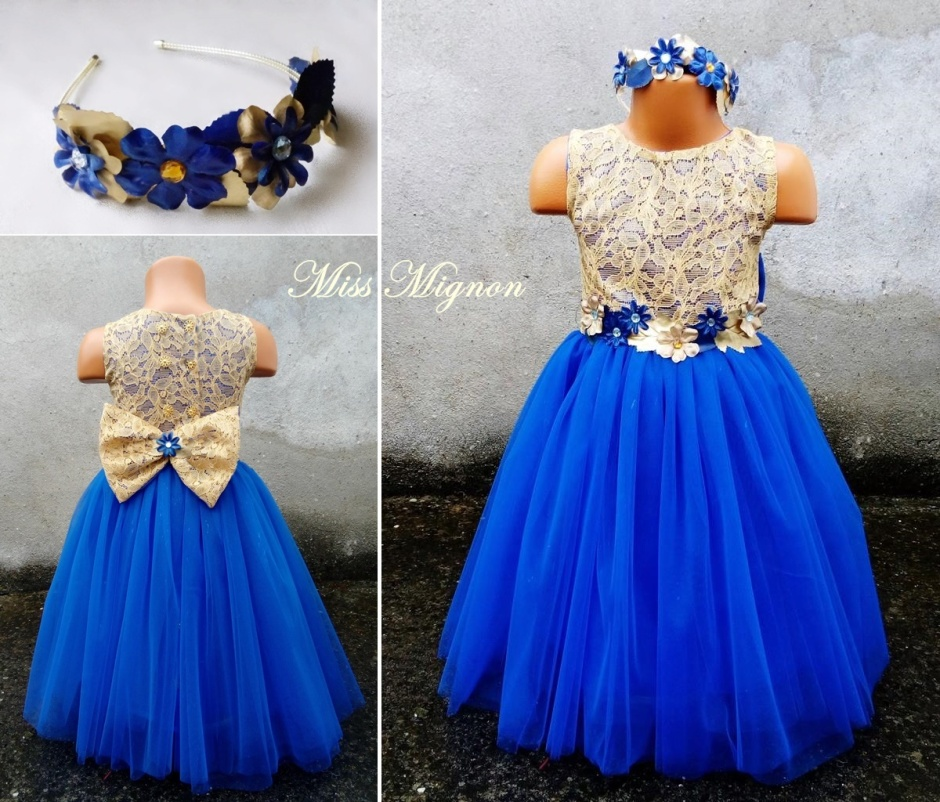 rochie blue gold